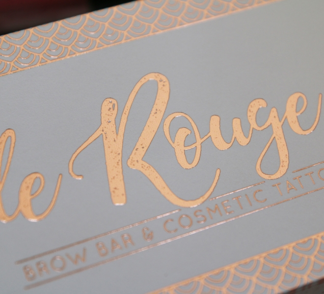 Gift voucher design, Logo design, branding and graphic design for Le Rouge Brow Bar and Cosmetic Tattoo based in Newcastle NSW